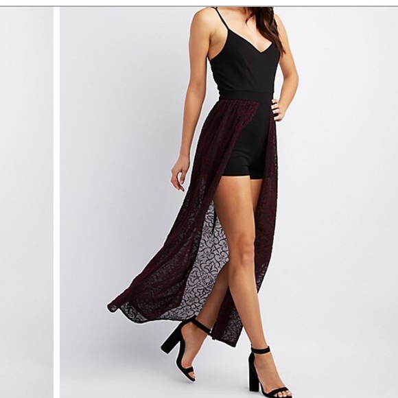 Charlotte Russe Dresses Black Romper With Maroon Sheer Skirt